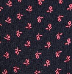 Μπλε σκούρο με ροζ λουλούδια