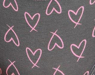Γκρι με ροζ καρδιές