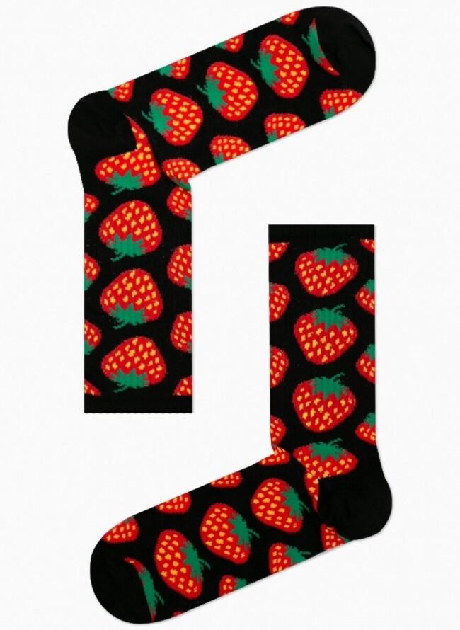 Unisex Κάλτσες Μαύρες με Φράουλες