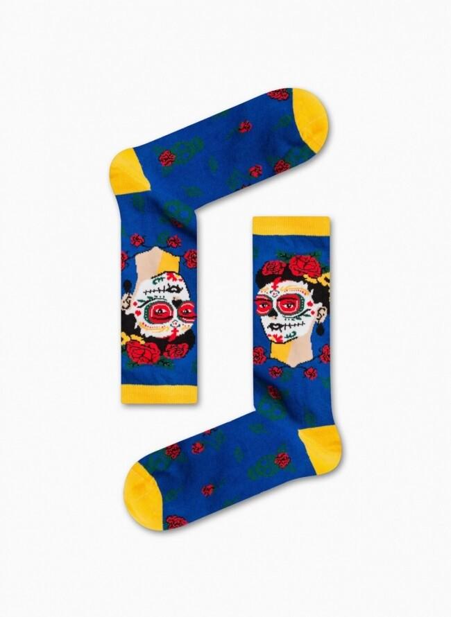 Unisex Κάλτσες Μπλε με τύπωμα Frida Kahlo Calavera
