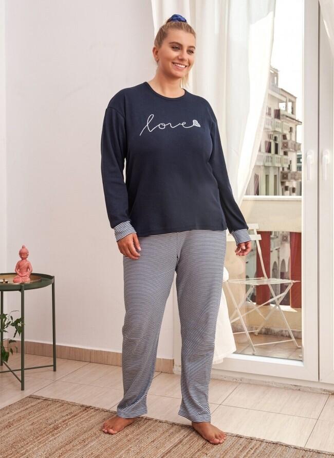 Χειμερινή Πιτζάμα Plus Size 6706 Love