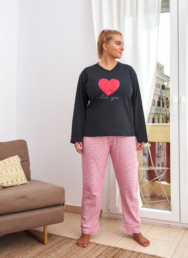 Χειμερινή Πιτζάμα Plus Size 6707 Love You